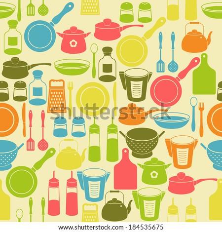 Seamless retro pattern with kitchen utensils. Raster version - stock photo