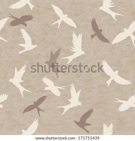 Seamless retro pattern with silhouettes of colorful birds - stock photo