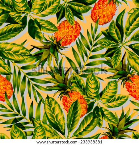 seamless retro tropical pattern. watercolor exotic leaves with pineapple in a vintage look. painted foliage: schefflera, palm, pineapple in watercolor and markers. - stock photo