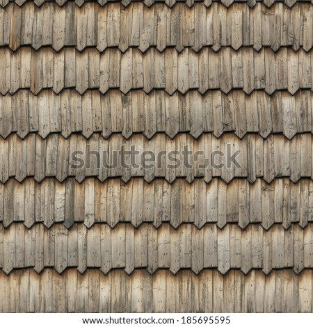 Seamless roof texture of wooden shingles with pointed edges in a consistent pattern. - stock photo