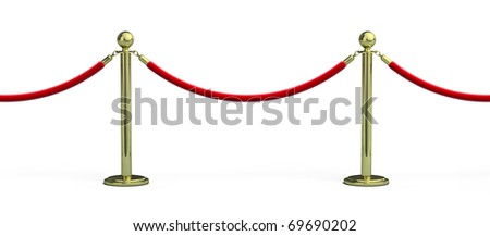 Seamless Rope barrier on white background - stock photo