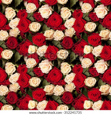seamless roses background pattern tile - stock photo
