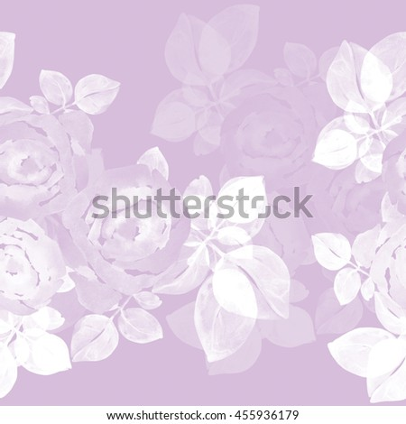 Seamless roses pattern on a colored background