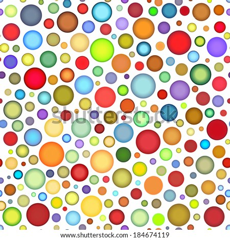 seamless round colored bubble pattern on white - stock photo