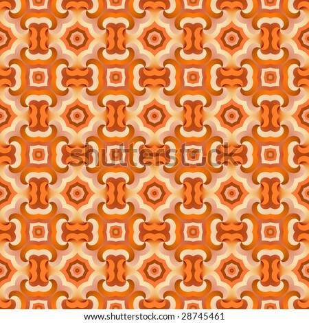 seamless 70s wallpaper orange - stock photo