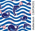 Seamless sea pattern with dolphins, whales and buttons on stripe background. Raster version - stock photo