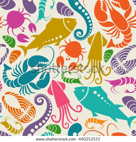 Seamless seafood and fish pattern. Food background  for menu and market. Color illustration for print, web