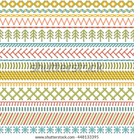 Seamless sewing pattern. High detailed stitches and seams on white background. Boundless background. - stock photo