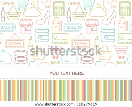 Seamless shopping background with colorful line style icons. Linear fashion pattern.
