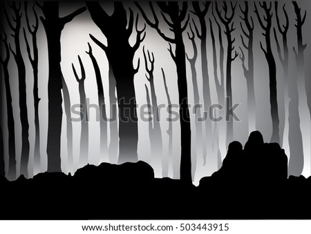 Seamless silhouettes fabulous tree. Horizontal seamless pattern. Magic forest landscape with trees. Stylized tree. Horizontal illustration of forest with trees and hills. black-and-white