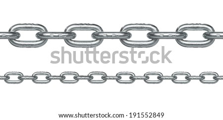 Seamless silver chain in two different sizes isolated on white background.Very easy to extend it to any length