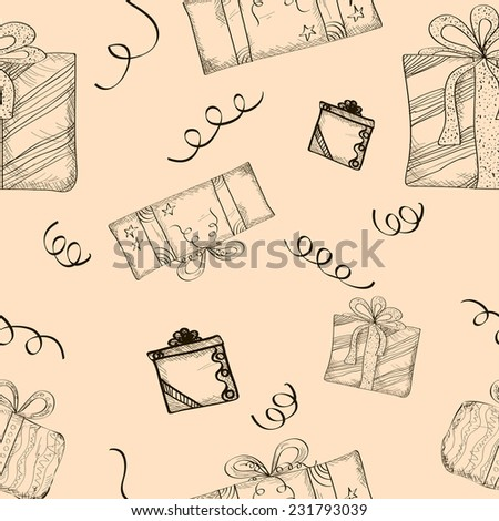 Seamless Sketch Gifts Beige Background.