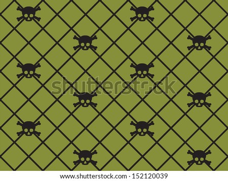 Seamless Skull & Crossbone Pattern - stock photo
