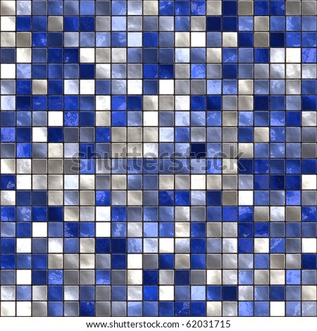 Seamless small tiles texture in different shades of blue - stock photo