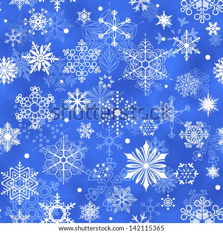 Seamless Snowflake Pattern - stock photo