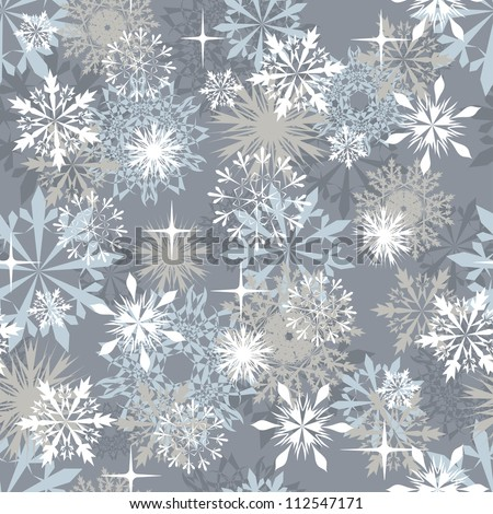 Seamless snowflakes background for winter and christmas theme. - stock photo