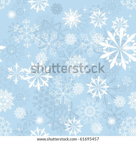 Seamless snowflakes background for winter and christmas theme - stock photo