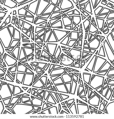 Seamless spider web. Connected black lines on white background - stock photo