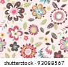 seamless spring floral pattern background - stock photo