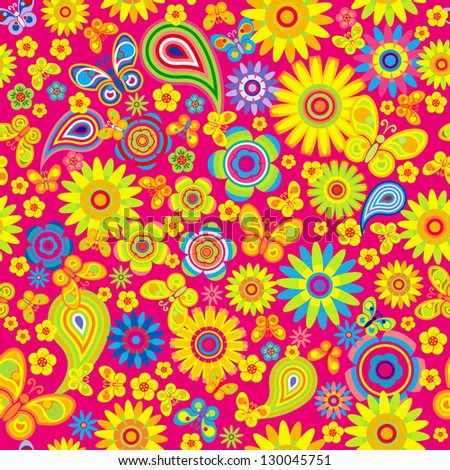 seamless - spring flower pattern with butterfly