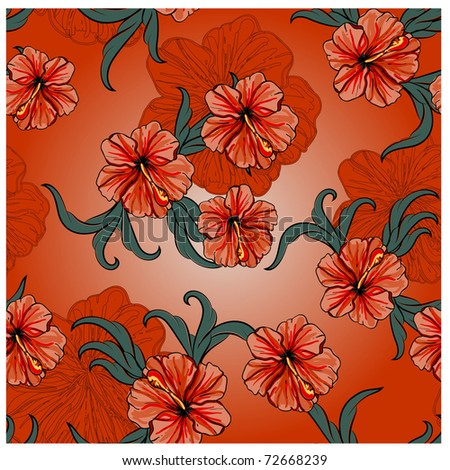 seamless spring pattern with hibiscus flowers and leaves, vintage