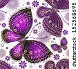 Seamless spring transparent pattern with violet-gold butterflies and flowers  - stock vector