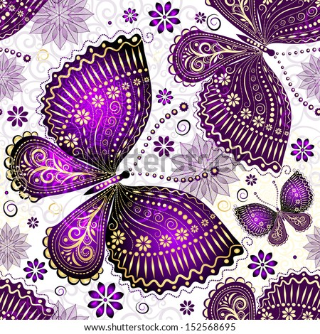 Seamless spring transparent pattern with violet-gold butterflies and flowers  - stock photo