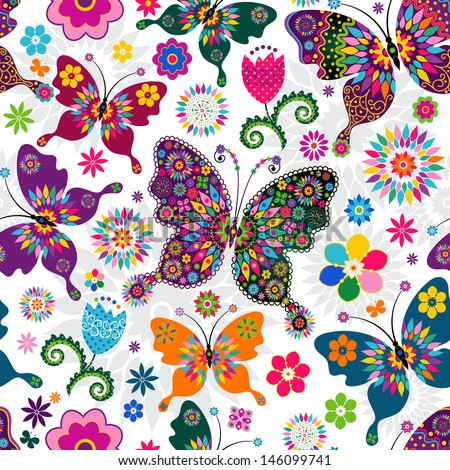 Seamless spring white floral pattern with colorful butterflies and flowers  - stock photo