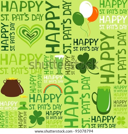 Seamless St.Patrick's day background. Illustration - stock photo