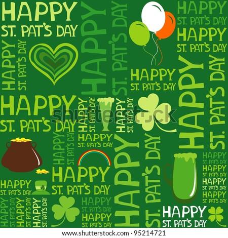 Seamless St.Patrick's day background. Illustration - stock photo