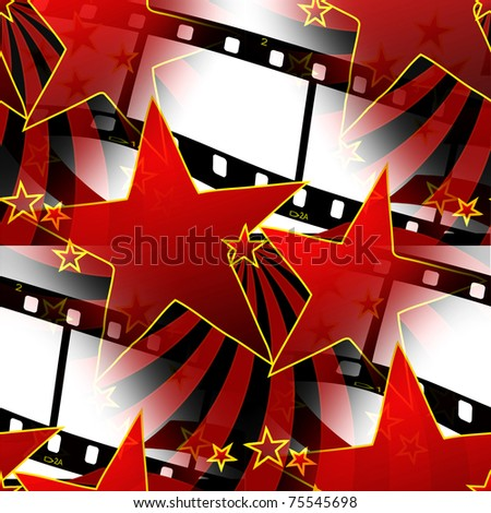 Seamless Stars And Film Strips Design - stock photo