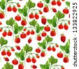 Seamless strawberry pattern isolated on white. watercolor. - stock photo