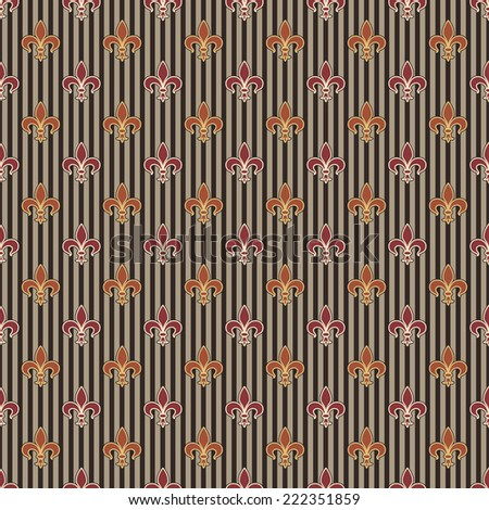 Seamless Stripe and Fleur de Lis Pattern - stock photo