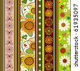 Seamless striped vivid summer pattern with floral application - stock photo
