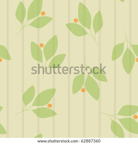 Seamless stripes with leaves and berries - stock photo