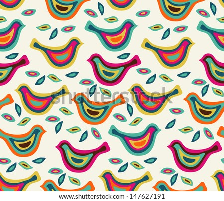 Seamless stylish color pattern with birds - stock photo