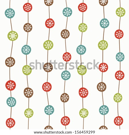 Seamless stylish pattern with color christmas balls - stock photo