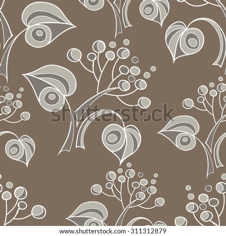 Seamless stylized abstract pattern (background) with linden  leaves silhouette.  Texture with branches.  - stock photo