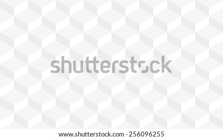 Seamless subtle gray isometric flattened cubes optical illusion pattern - stock photo