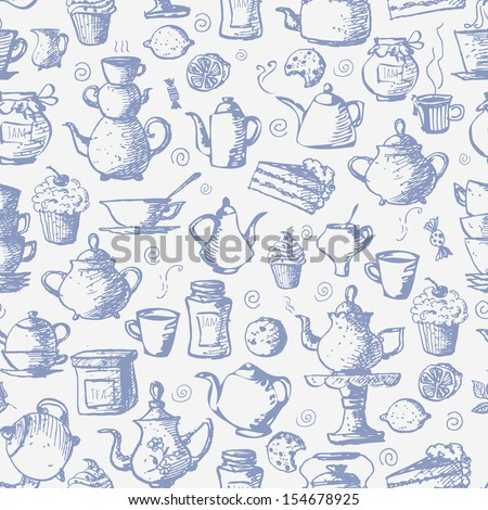 Seamless tea background with cakes, teapots, cups, jam, lemons and candies. Can be used for wallpaper, pattern fills, textile, web page background, surface textures.  - stock photo