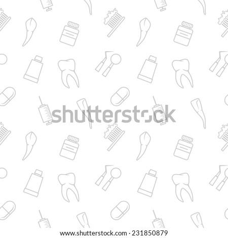 Seamless teeth  pattern on white background - stock photo