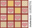 Seamless textile background with simple pink hearts - stock photo