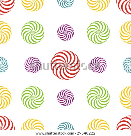 Seamless texture - a pattern of multiple coloured abstract rotating elements repeating seamlessly