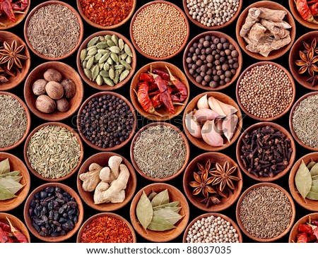 Seamless texture background of spices - stock photo