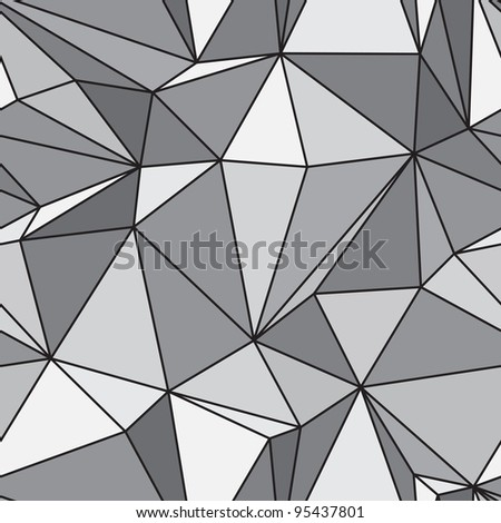 Seamless texture - gray various polyhedra - stock photo