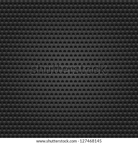 Seamless texture metal surface dotted perforated black background. This image for clip-art design element is a bitmap copy of my vector illustrations - stock photo