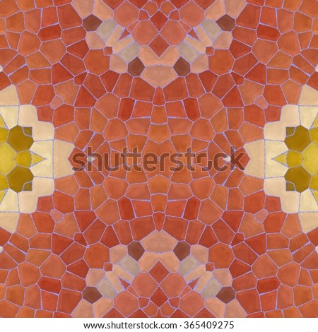 Seamless texture of abstract fabric. Kaleidoscopic wallpaper tiles. - stock photo