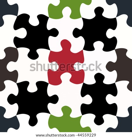 seamless texture of black and white and some colored puzzle pieces - stock photo