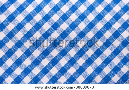 seamless texture of blue and white blocked tartan cloth - stock photo