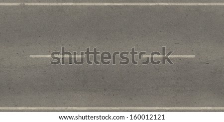 Seamless texture of grey, slightly worn road with white stripes. - stock photo